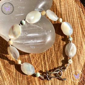 Mother Of Pearl Faceted Oval Bracelet With Silver Toggle Clasp
